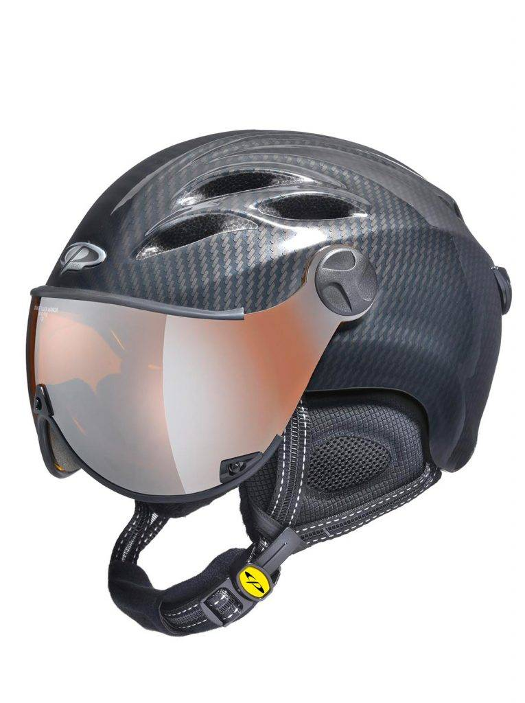 Curako carbon look all in one ski helmet