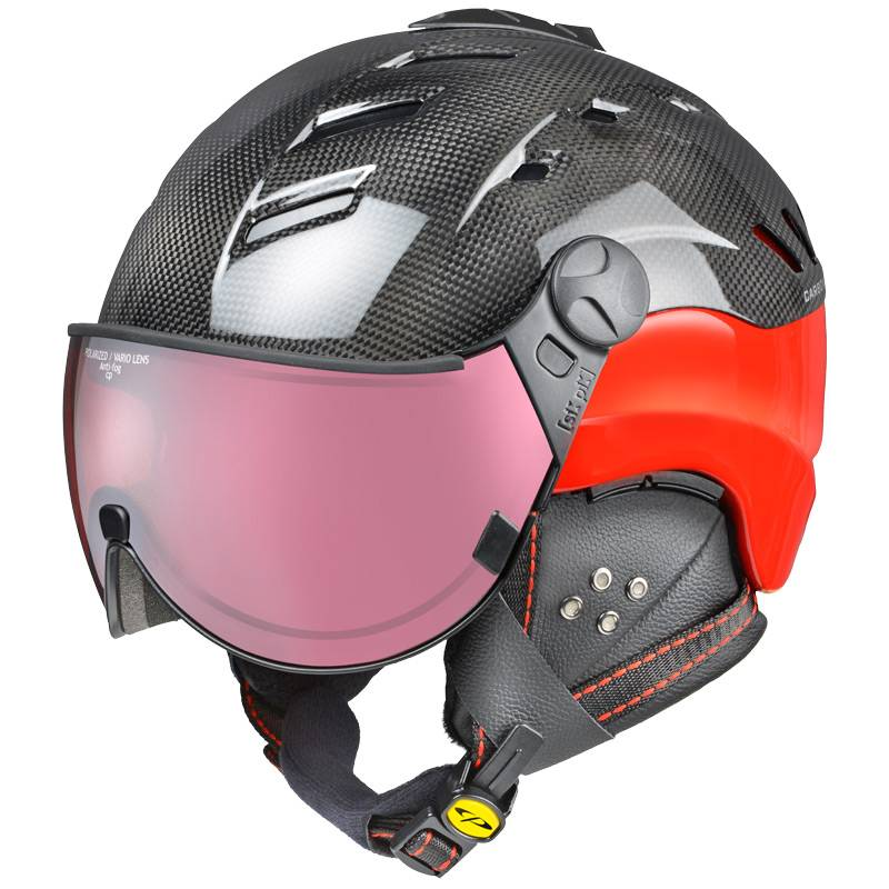 red carbon visor ski helmet