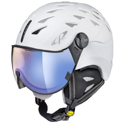 White all in one ski helmet blue visor