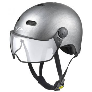 urban visor bike helmet metallic silver